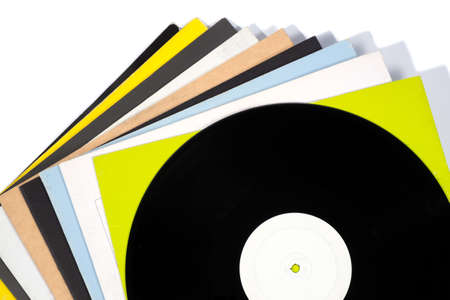 vinyl records: Colorful vinyl records on white isolated background