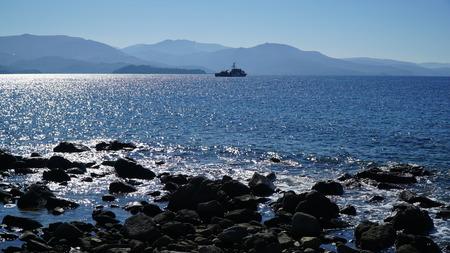 coast guard: The coast guard ship near the Molyvos Mythimna, Lesvos