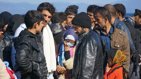 Refugees on the Greek shore