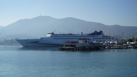 greece shoreline: Mytilene harbor Lesvos Editorial