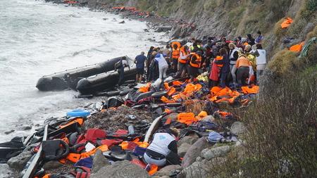 Flüchtlinge hatte gerade an der Küste angekommen