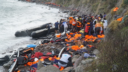 arrived: Refugees had just arrived to the shore Editorial