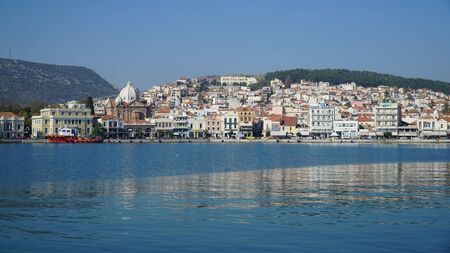 greece shoreline: Mytilene. Harbor. City center