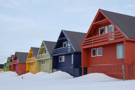 A city details of Longyearbyen - the most Northern settlement in the world. Spitsbergen Svalbard, Norway.