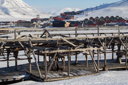 Mechanismen der alten System Kohle in Longyearbyen, Spitzbergen Svalbard zu transportieren. Norwegen. Zur Zeit nicht arbeiten. Lizenzfreie Bilder