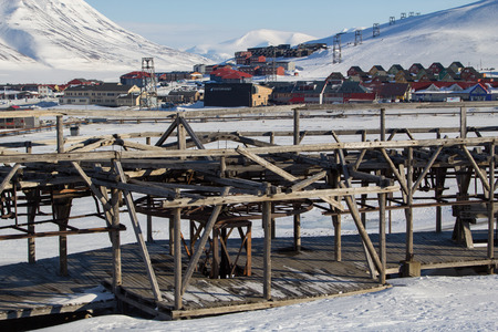 nonworking: Mechanisms of old system to transport coal in Longyearbyen, Spitsbergen Svalbard. Norway. Currently non-working.