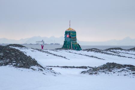 Schauplatz im Hafen von Longyearbyen, Spitzbergen Svalbard. Norwegen Lizenzfreie Bilder