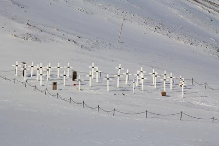 Alter Friedhof in Longyearbyen, Spitzbergen Svalbard. Norwegen. Jetzt ist es verboten, Menschen zu begraben. Lizenzfreie Bilder