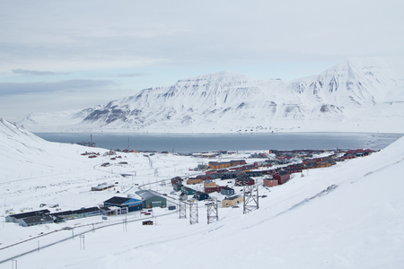 Top view. The city is surrounded by mountains. Longyearbyen, Spitsbergen Svalbard. Norway