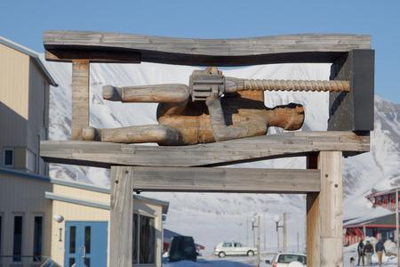 Denkmal für Bergmann. Showplace in Longyearbyen, Spitzbergen Svalbard. Norwegen
