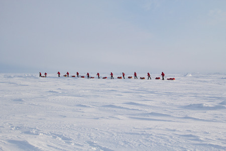 approximately: Skiers go to the North pole from Russian ice camp Barneo located 40 km from the North pole. The route will take approximately 2 weeks. March 2015.