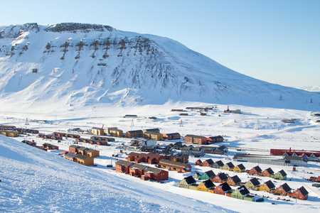 A city details of Longyearbyen - the most Northern settlement in the world. Spitsbergen Svalbard. Norway.