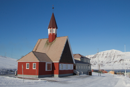 svalbard: A city details of Longyearbyen - the most Northern settlement in the world. Spitsbergen Svalbard. Norway.