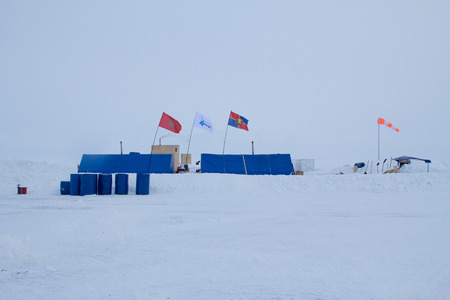 north pole: Russian ice camp Barneo located 40 km from the North pole. Runway. March 2015