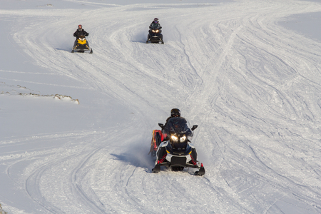 Snowmobile is the best transportation in Longyearbyen, Spitsbergen Svalbard. Norway