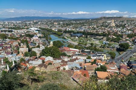 Tbilisi city center aerial view from Narikala Fortress, Georgia Banco de Imagens