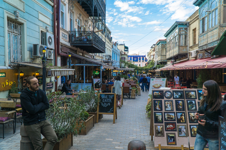 Tbilisi, Georgia-SEP 25, 2016: People on a pedestrian street Sioni in heart of the old town.