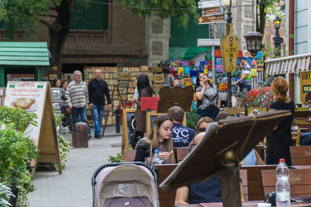 TBILISI, GEORGIA-SEP 25, 2016: People on a pedestrian street Sioni in the heart of the old town