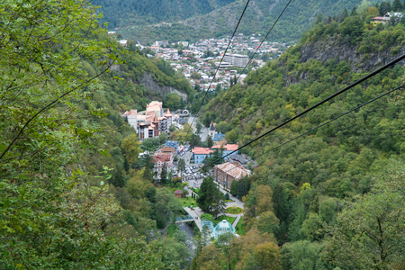 Cable car in Borjomi. Georgia, September. Banco de Imagens
