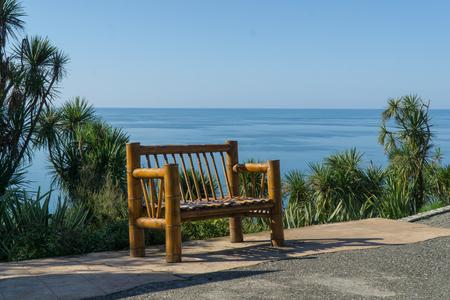 Bamboo bench with a sea view from the Botanical Gardens in Batumi, Georgia. Banco de Imagens
