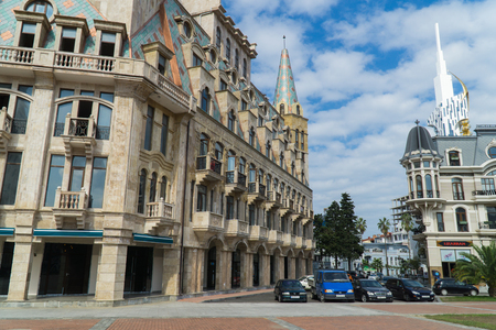 BATUMI, GEORGIA - OCT 7, 2016: Buildings on the Europe square in the city centre