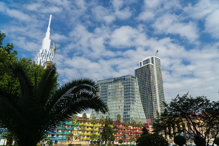 BATUMI, GEORGIA - OCT 7, 2016: Buildings of modern architecture in the city centre