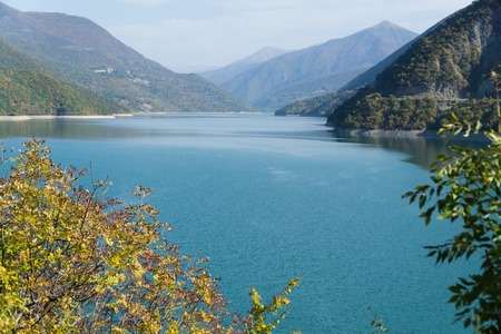 View of the Zhinvali reservoir on the Aragvi river near the village of Ananuri