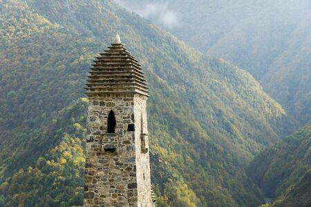 Battle towers Erzi in the Jeyrah gorge, Republic of Ingushetia Standard-Bild