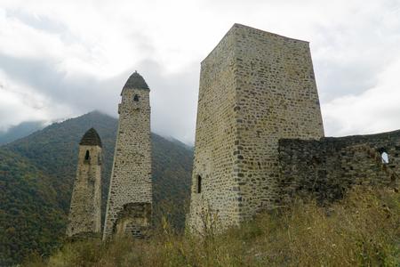 Battle towers Erzi in the Jeyrah gorge, Republic of Ingushetia
