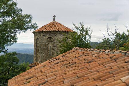 The monastery of the Dormition of the Theotokos in Nekresi. Kakheti, Georgia. Cloudy day