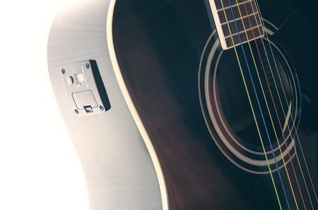 tuner: black guitar deck , tuner installed in it