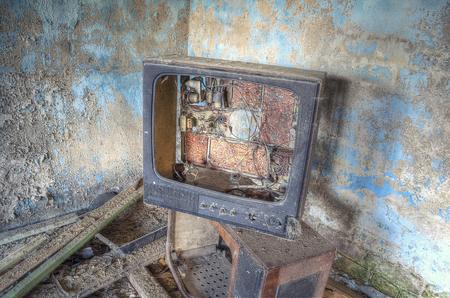 abandoned room: broken TV, in the old abandoned room