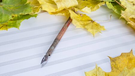 composing: colorful autumn leaves and sheets of paper with notes Stock Photo