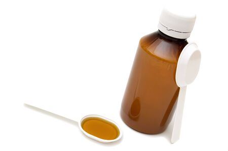 measuring spoon: mixture and measuring spoon,   medicine bottle Stock Photo