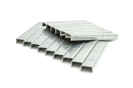 metal brackets for stapler isolated on white background Stock Photo