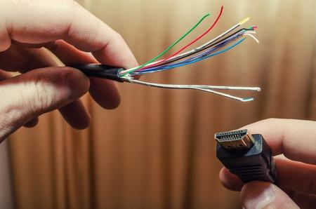 Reparatur HDMI-Kabel, Mehrfarbige Drähte Und Stecker Lizenzfreie ...