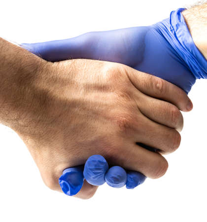 a man wears blue protective medical gloves, protection during a pandemic