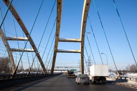 A modern highway bridge. View through the car window. Stock Photo - 9091231