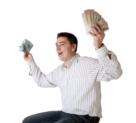 Happy young man won a large sum of money. Isolated on white with clipping path Stock Photo - 9303592