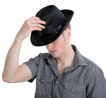 the guy in the black hat isolated on white with clipping path Stock Photo - 9609343