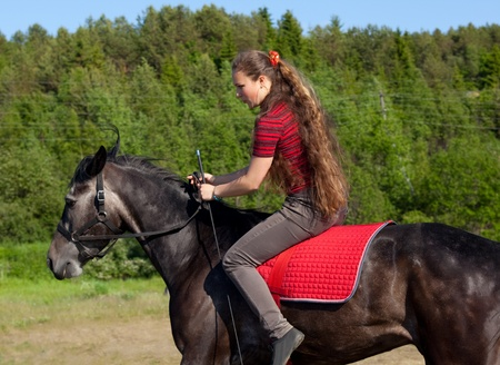 A girl riding a horse on a meadow photo