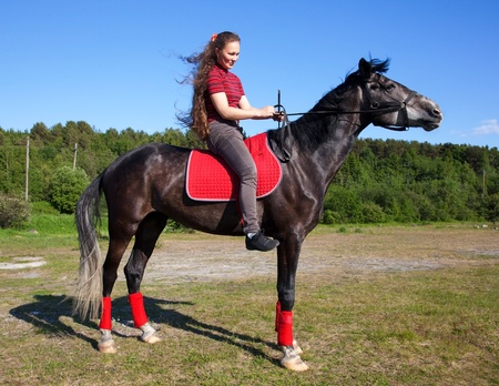 Beautiful girl with brown hair on a black horse against a blue sky and the forest Stock Photo