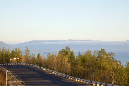 The mountain road to the sea. northern landscape. North