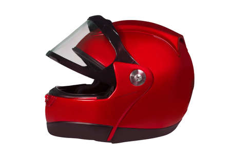 Motorcycle helmet with a raised glass isolated on white with clipping path Stock Photo