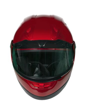 Motorcycle Helmet isolated on white with clipping path. Front view Stock Photo