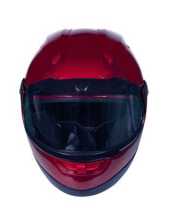 Red motorcycle helmet with blue glass isolated on white with clipping path. Front view Stock Photo