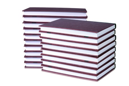 Books neatly stacked on a white background  Collage Stock Photo - 12653154