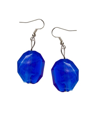 cutglass: Earrings out of the blue cut-glass isolated on a white background  Collage