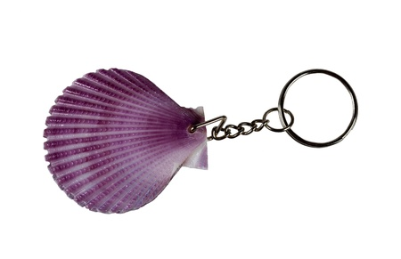 Seashell keychain. Isolated on white background Stock Photo - 13619185