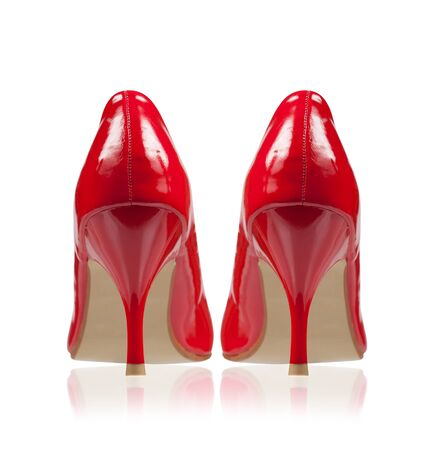 High-heeled shoes classic style red isolated on white  Collage  Rear view  Stock Photo - 17840288